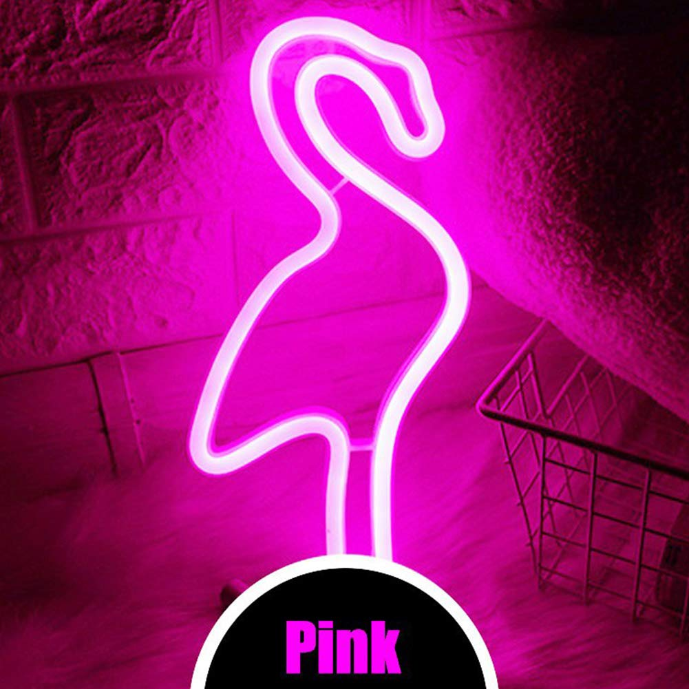 Flamingo Neon Light Signs - XIYUNTE Pink Neon Flamingo Light Wall Lamp Room  Decor, Battery and USB Operated Neon Light Pink Neon Signs Flamingo Lamps