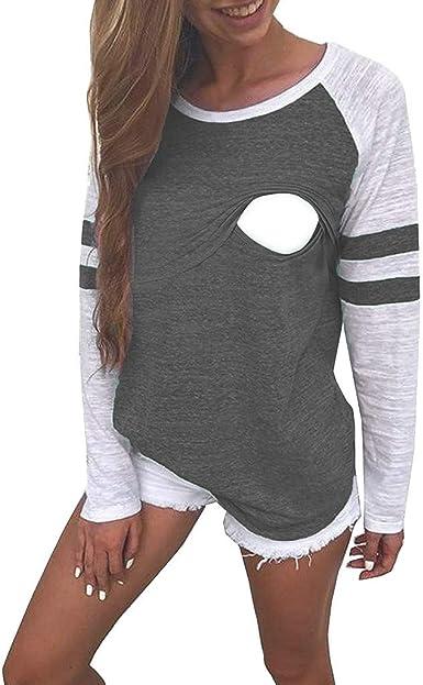 STRIR Camiseta Lactancia Mujer Blusa de Maternidad de Manga Larga Premama Tops Ropa Premamá Camisetas de Algodon: Amazon.es: Ropa y accesorios