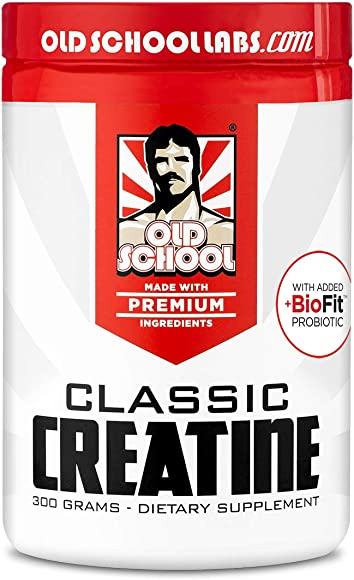 Old School Labs Classic Creatine – Purity-Tested Creatine Monohydrate for Muscle Size, Strength and Stamina – with BioFit Probiotics for Gut Health Maximum Absorption – No Additives – 300 g Powder