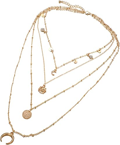 Beydodo Vergoldet Multilayer Halsketten Damen Gold Sonne