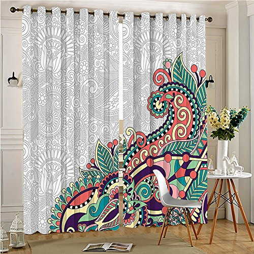 70% Blackout Thermal Window Curtain Decorative Background with Branches Pattern Print Light Jade for Sliding Glass Patio Doors(2 Panels, 54