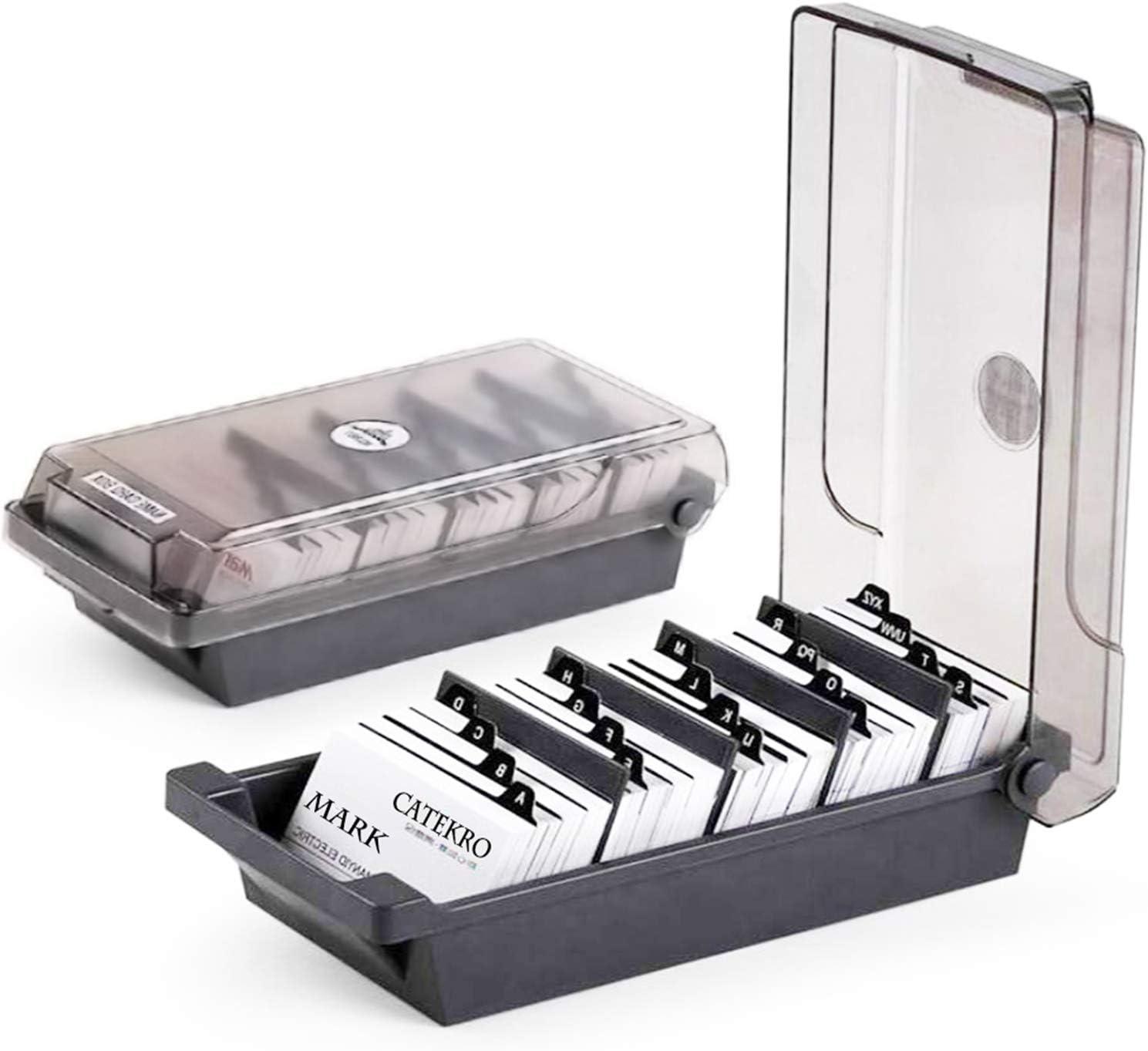 avec 4 intercalaires et onglets pour bureau gris IWILCS Bo/îte de rangement pour cartes de visite