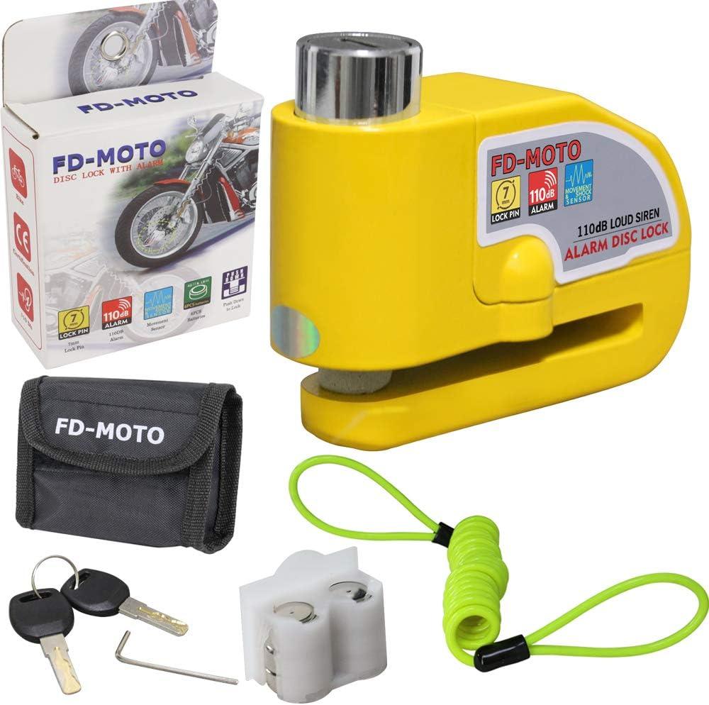 Motorcycle Handlebar Throttle Grip Lock 110db Alarm Disc Lock FD-MOTO 10mm x 1.2m Motorbike Chain Lock PadLock