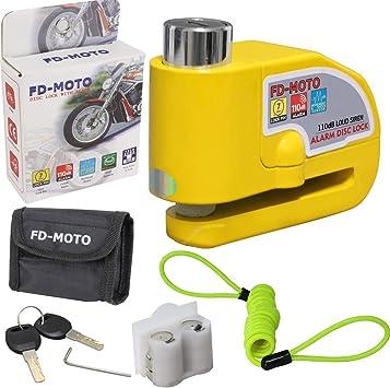 Fd Moto 110db Alarm Bremsscheibenschloss Diebstahlsicherung Motorradschloss 7mm Pin Sicherheitsschloss Gelb 1 5m Erinnerungskabel Und Tragetasche Für Motorrad Roller Fahrrad Auto