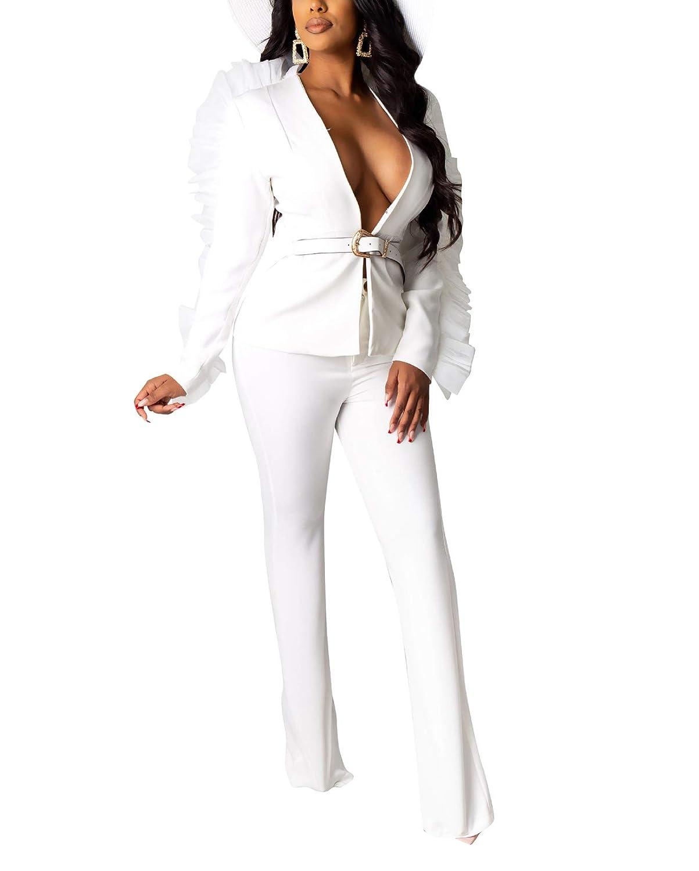 ECHOINE Women Two Piece Outfits Long Ruffle Sleeve Casual Elegant Business Suit Sets Blazer Suits