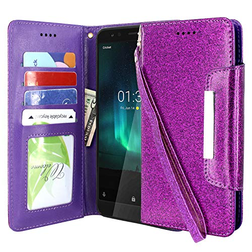 Lacass Leather Flip Wallet Case Cover Kickstand with Card Slots and Wrist Strap for Nokia 3.1A (AT&T) / Nokia 3.1C (Cricket Wireless) 2019 (Glitter Purple)