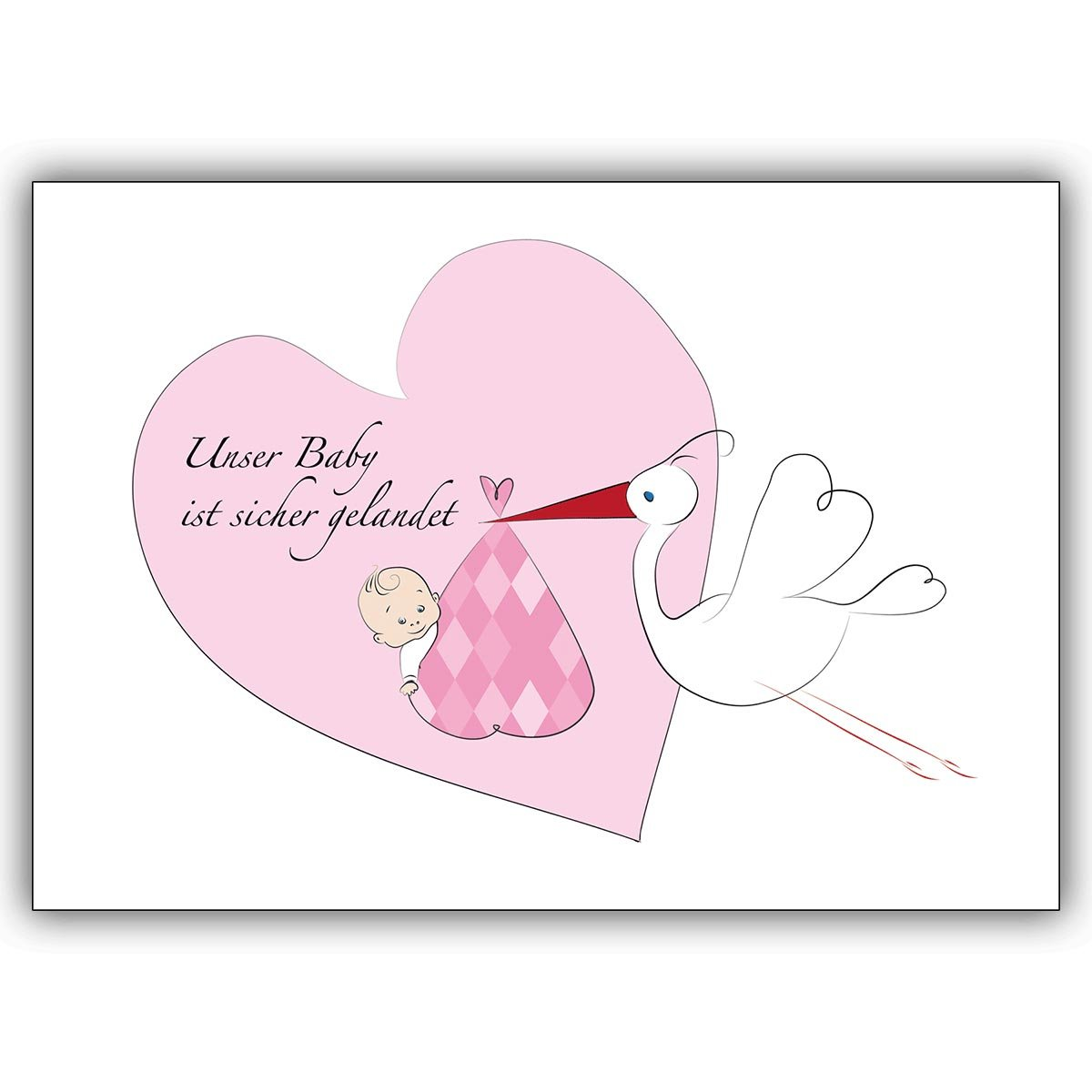 12 Mädchen Geburtsanzeigen mit Storch und Herz Herz Herz  Unser Baby ist sicher gelandet mit klassischem Innendruck. Ihren persönlichen Text drucken wir innen - einfach Schriftart auswählen B00W7V6CE8 | König der Quantität  9d2099