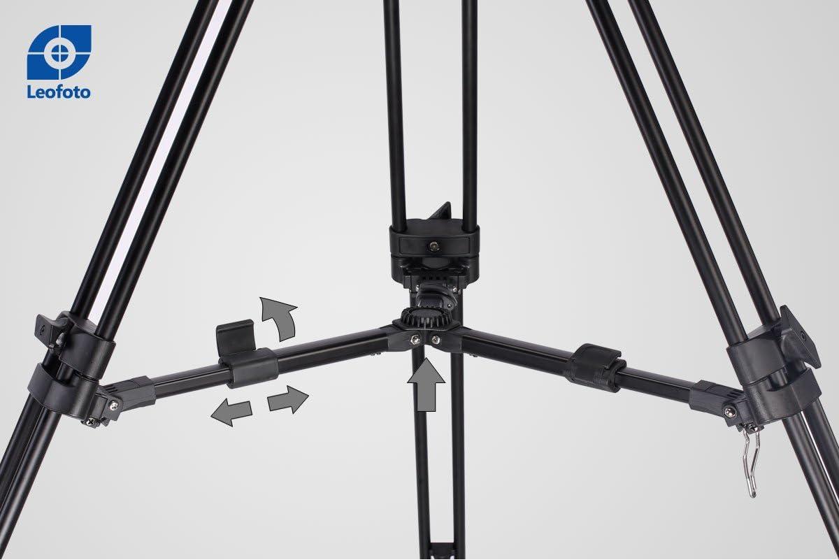 LEOFOTO VT-20 Tall Video Tripod LF-75 75mm Fluid Drag Head 75 Bowl