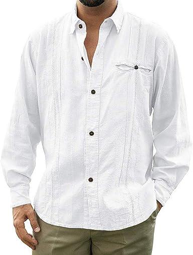 Adisputent - Camisa de Estilo Medieval para Hombre, Manga Larga, Elegante Camisa Retro, Color Azul, Blanco y Caqui Blanco 3XL (Busto : 128 cm): Amazon.es: Ropa y accesorios