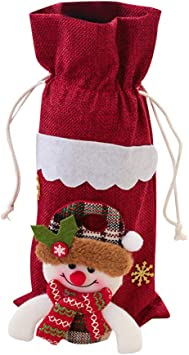 Cartoon Red Wine Bottle Cover Christmas Snowflake Linen Wine Bag Xmas Decoration