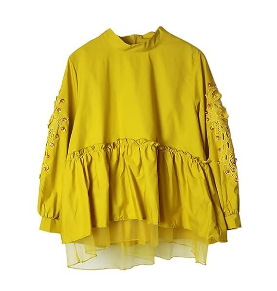 Camisas Mujer Elegantes Vintage Manga Larga Hilado Neto Splicing Blusas Primavera Moda Joven Bastante Dulce Lindo Anchos Color Sólido Flores con Lentejuelas ...