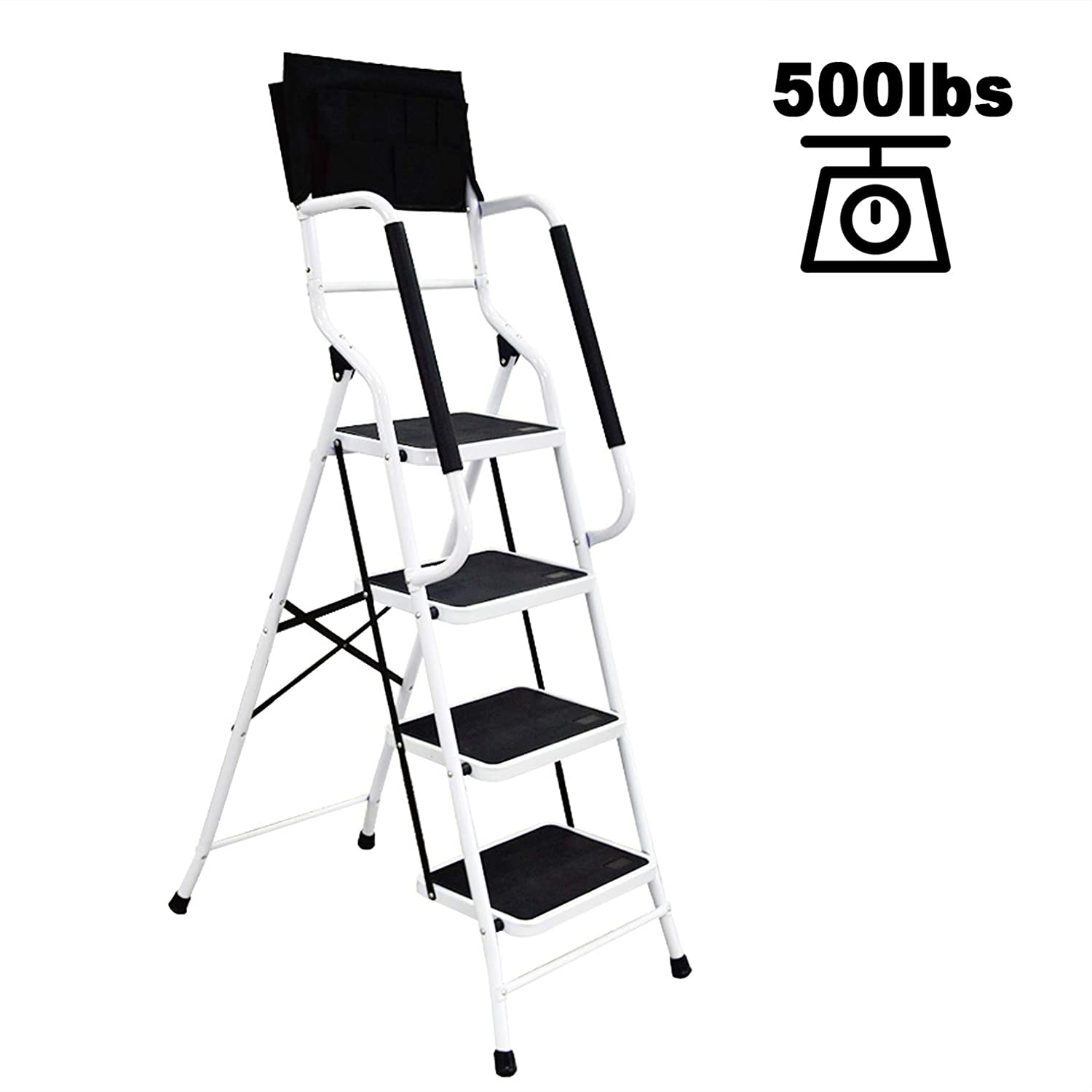 charaHOME 4 Step Ladder Step Stool Folding Portable Ladder Steel Frame with Safety Side Handrails Non-Slip Wide Pedal Kitchen and Home Stepladder with Attachable Tool Bag 500 lb Capacity
