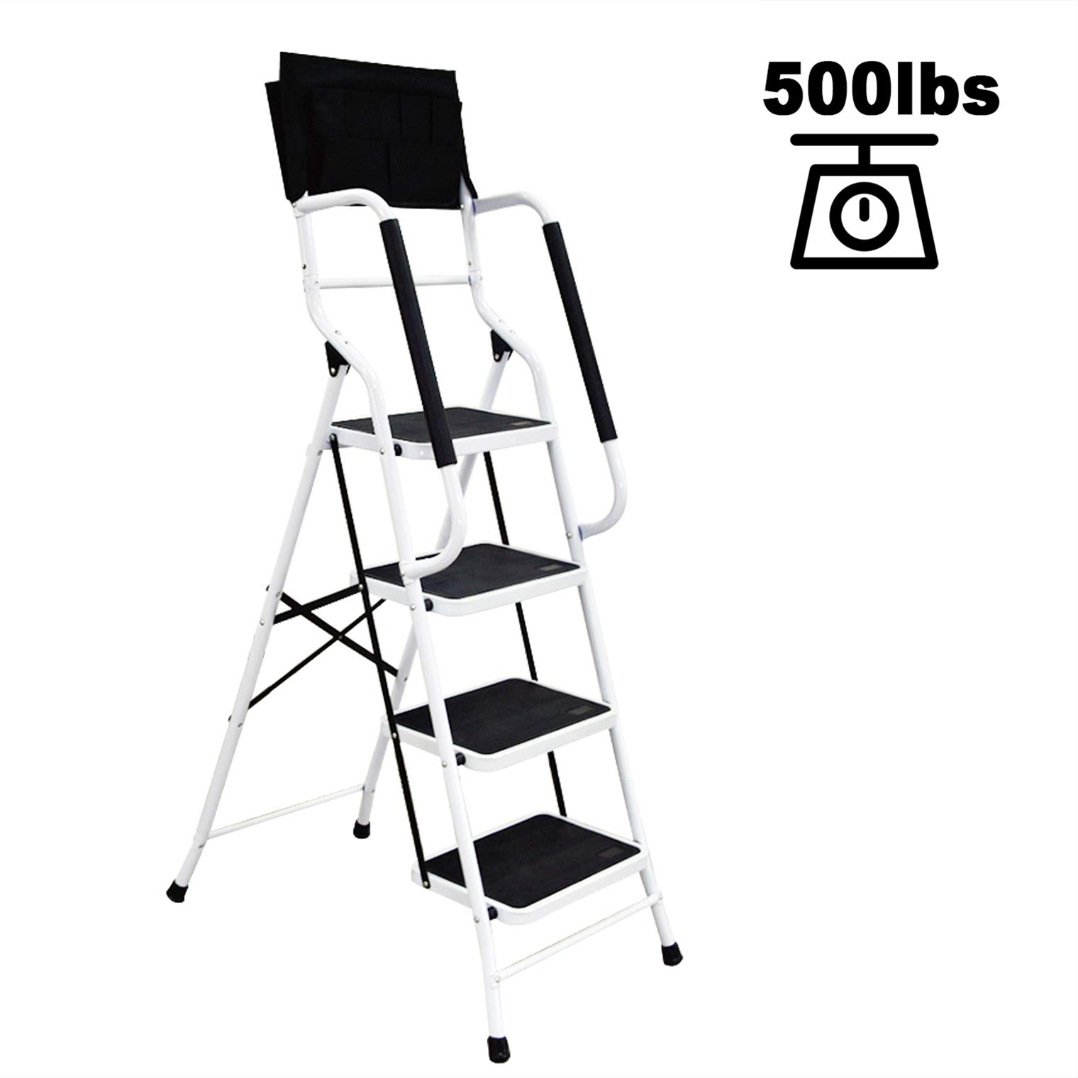 charaHOME 4 Step Ladder Step Stool Folding Portable Ladder Steel Frame with Safety Side Handrails Non-Slip Wide Pedal Kitchen and Home Stepladder with Attachable Tool Bag 500 lb Capacity by charaHOME