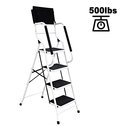 Strange Charahome 4 Step Ladder Step Stool Folding Portable Ladder Steel Frame With Safety Side Handrails Non Slip Wide Pedal Kitchen And Home Stepladder With Machost Co Dining Chair Design Ideas Machostcouk