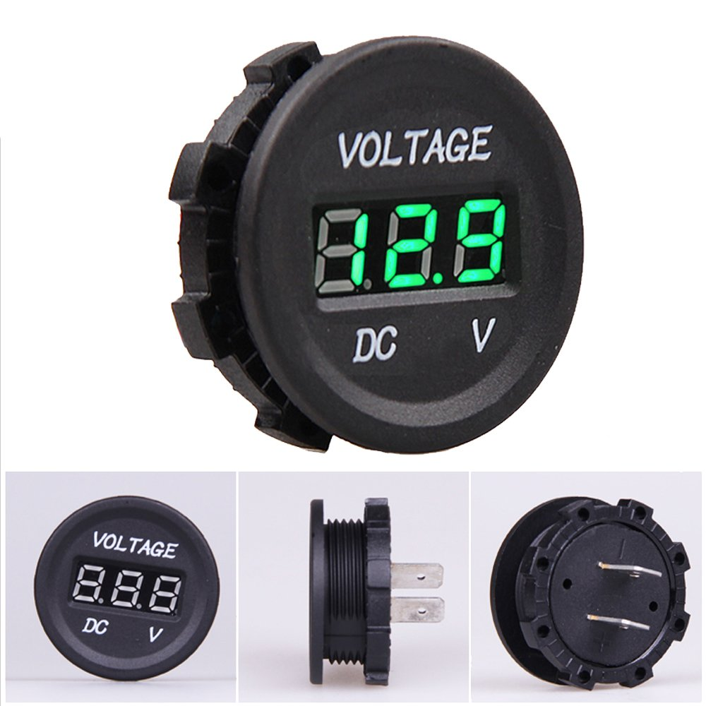 Mintice/™ 12V 24V Waterproof Car Motorcycle Blue LED Light Digital Display Voltmeter Volt Socket