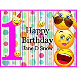 Emoji Party Supplies, Personalized Happy Birthday Decorations, Emoji Backdrop - size 24x36, 48x24, 48x36; First Birthday, Wall Decor, Handmade Party Supplies, Custom Banner, Wall Poster, Emoji party