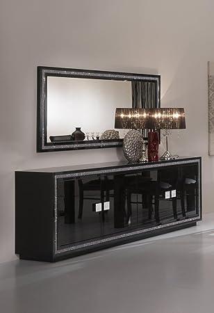 Matelpro-Miroir de salle à manger rectangulaire design laqué noir ...