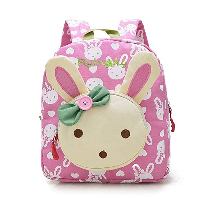 374493983235 Skyflying Rabbit Animals Kids Book Backpack Baby Girls School Bag Pink