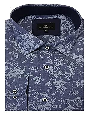 Cotton Valley Pure Cotton Floral Print Denim Shirt with Cutaway Collar (15624) in Size 6XL