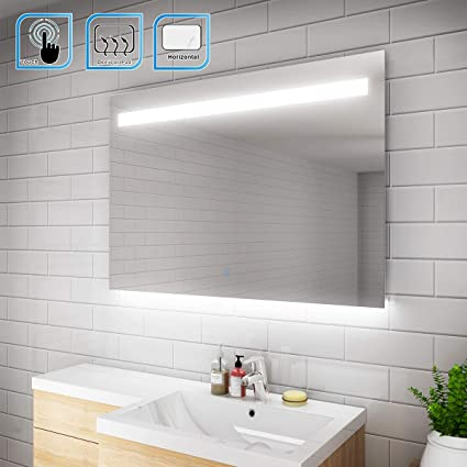 ELEGANT 1000 X 700 Mm Illuminated LED Bathroom Mirror Wall Mirror Bathroom  Mirrors With Light And Demister And Sensor IP44 Rated: Amazon.co.uk:  Kitchen U0026 ...