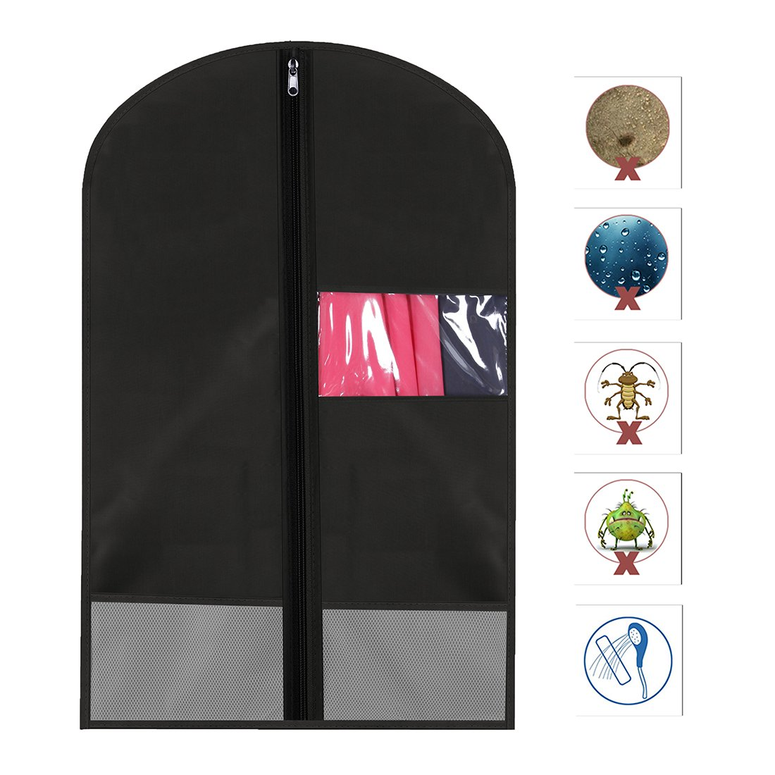 Favorest Breathable Dust-Proof Garment Bag with Clear Window and 2 Mesh Pockets 41x22.8 Anti-Moth Durable Oxford Cloth Suit Covers with Zipper for Suit Dresses Storage or Travel Linens M, Black