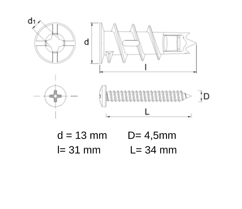 Rawlplug Gipskarton D/übel DRA aus Metall 13x31mm R-S1-DRA02//50 50 Teile Selbstbohrende mit Schrauben 4,5x34mm