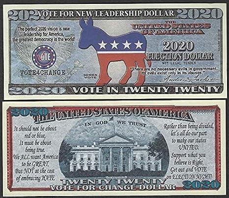 Amazon com: Novelty Notes Vote for Change Vote Democrat 2020