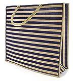"Kel-Toy NBS318-233 Large Stripe Burlap Tote Bag, 19.5""W x 18""H x 8""D, Natural/Navy"