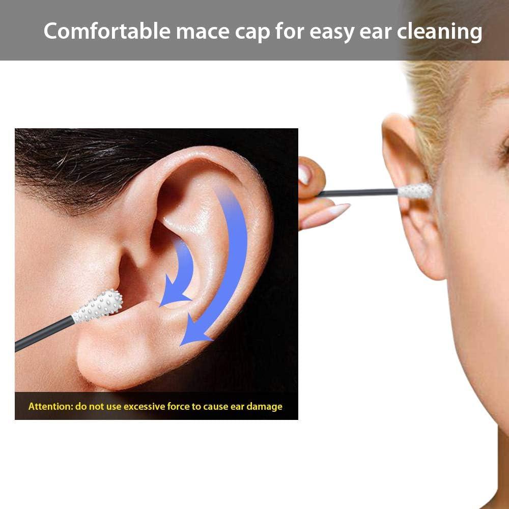b/âtons nettoyage des oreilles en coton avec /étui de rangement Gris fonc/é 8 pcs Coton-tige r/éutilisable coton-tige scell/ée NO coinc/é dans loreille coton silicone /écologique