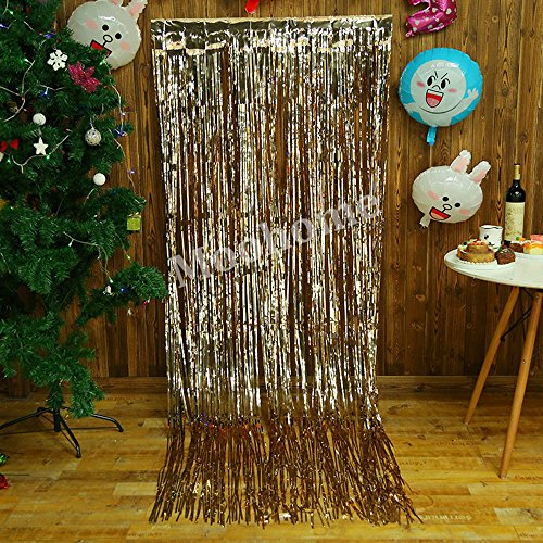 Theme Backdrop (Moohome 2 Pack Big 3ft x 8ft Champagne Gold Foil Curtains Backdrop Door Window Curtain Party Decoration (Champagne Gold, 2-Pack))
