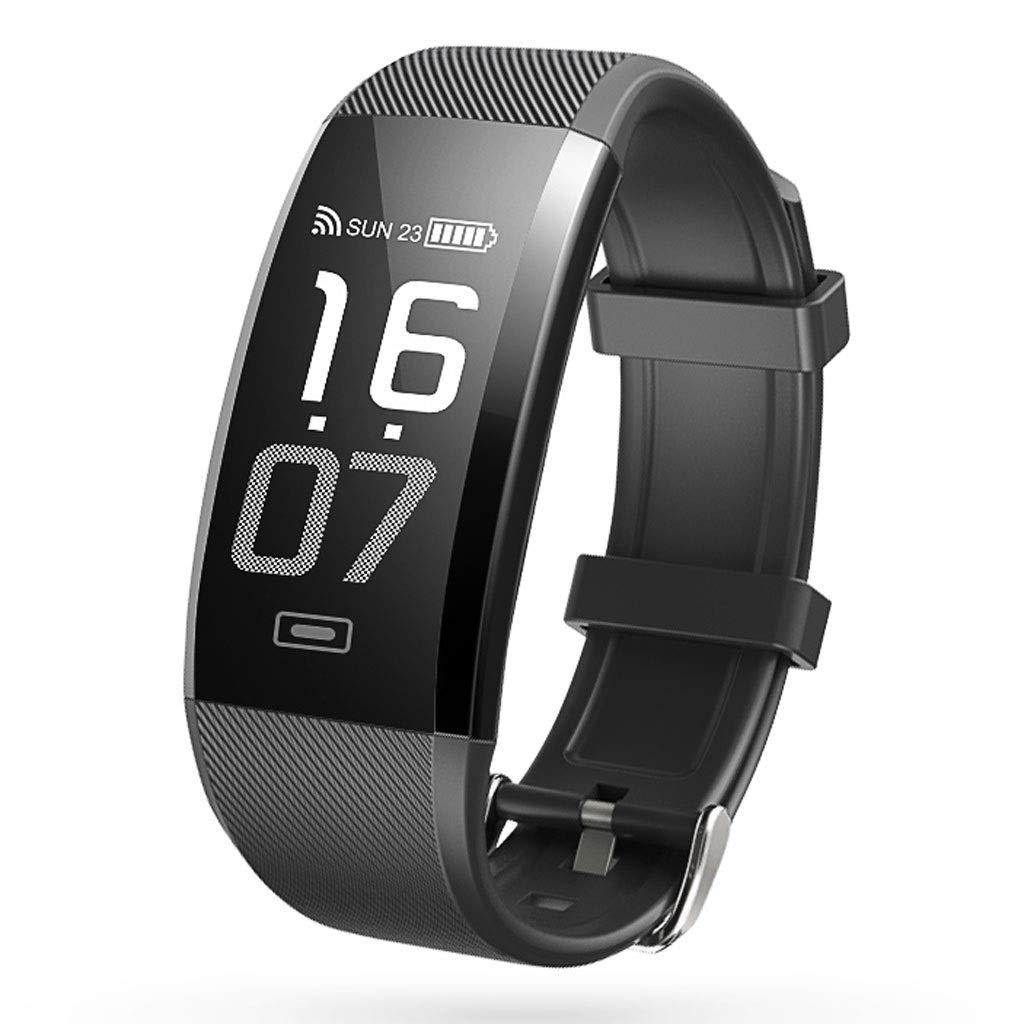 YangMi Sports Bracelet- Smart Bluetooth Sports Bracelet Multi-Function Heart Rate Blood Pressure Monitoring Waterproof Bracelet Men and Women (Color : Black)