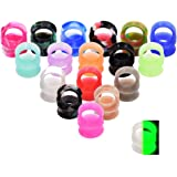 Qmcandy 36pcs/76pcs of Camouflage Colorful Silicone Flexible Ear Skin Tunnels Stretcher Gauges