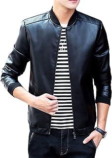 Laisla fashion Bomber Jacket Men Parka Warm Jacket Coat Giacca Casual A Maniche Classiche Lunghe Stand Colletto in Pelliccia Sintetica Giacca in Pelle Giacca da Motociclista Ragazzi