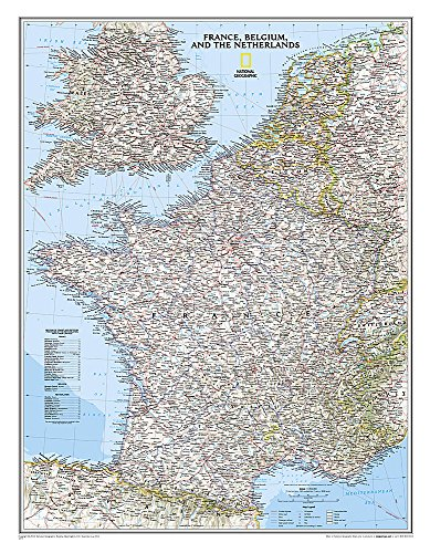 National Geographic: France, Belgium, and The Netherlands Classic Wall Map - Laminated (23.5 x...