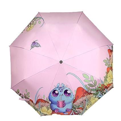 AFCITY Mujer Hombre Paraguas Viaje Patrón de Dibujos Animados sombrilla al Aire Libre Pequeño Paraguas de