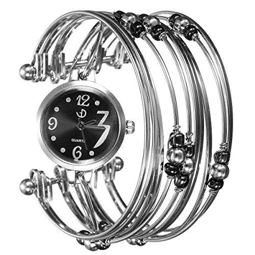 SODIAL(R) Montre Bracelet Argent Acier de Femmes Bijoux Perles Quartz Cadeaux de Noel