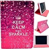 for iPad Mini Case,Keep Calm and Sparkle Design Book Style Folio With Stand Protection Magnetic Smart Slim Full Body Extreme Duty Dual Protective Back Cover with Kickstand - Rainproof Sand Proof Dust-proof Shockproof(Latest Version with Built-in Magnet for Sleep/wake Feature)Fashion Vintage Design Flip Pu Leather Smart Cute Stand Case,Full Body Protective Case Cover for Apple iPad Mini / Mini 2 / Mini 3