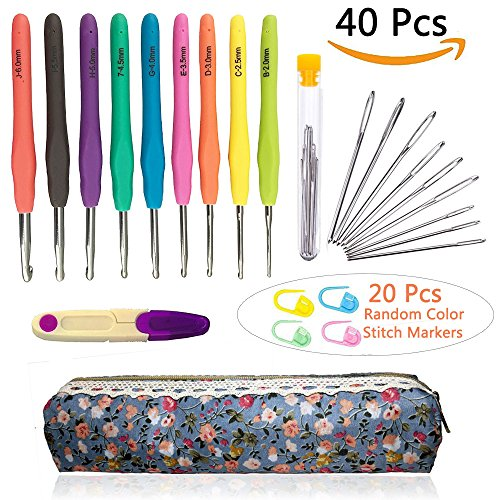 Crochet Needles and Crochet Hooks Set,Crochet Hook Set with Case Plus Large-Eye Blunt Needles Yarn Knitting,Scissors and Locking Stitch Marke,American Letter Sizes B,C,D,E,G,7,H,I,J(40 Pieces) by CH HAICHENG