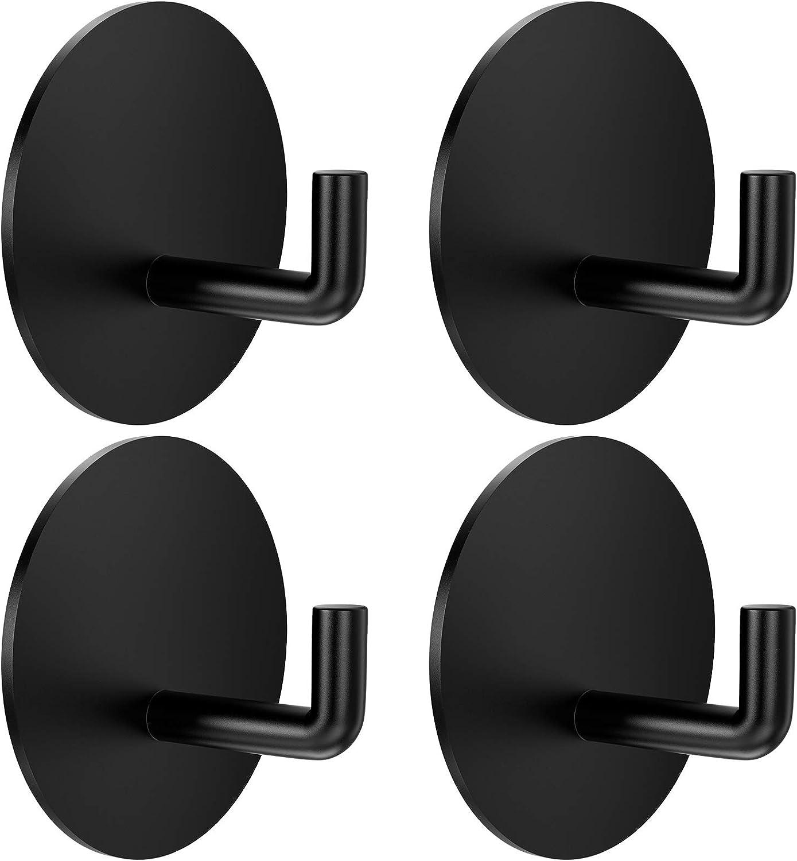 BARONAGE 4pcs Adhesive Hooks Bathroom Hooks Heavy Duty Wall Robe Hooks 304 Stainless Steel Towel Waterproof Hooks for Hanging Coat, Robe, Towels, Hats, Bathroom, Shower, Kitchen, Living Room, Depot…