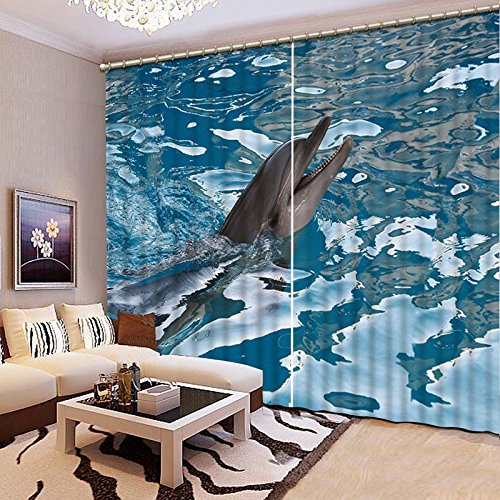 Sproud Quality Lifelike Dolphin 3D Printing Curtains Beautiful Curtains Full Shade Bedroom Living Room Curtains 260Dropx380Wide(Cm) 2 pieces by Sproud