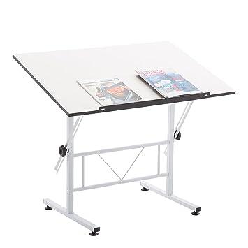 Schreibtischplatte weiß  CARO-Möbel Zeichentisch Morelia Weiß mit Verstellbarer Tischplatte ...