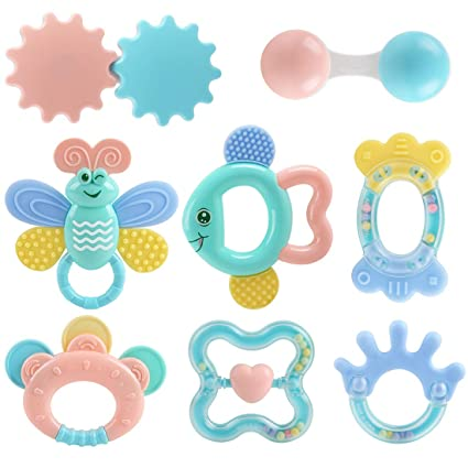 204ee5c5e0f Amazon.com : Baby Toys Rattle Teething Toys 8 PCS, Baby Newborn Gift Set  Toys for 0 3 6 9 12 18 24 Month Newborn Babies Infant : Baby