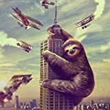 Slothzilla Funny Waterproof Shower Curtain of Sloth Climbing in New York 72x72 Inches 12 Hooks Included