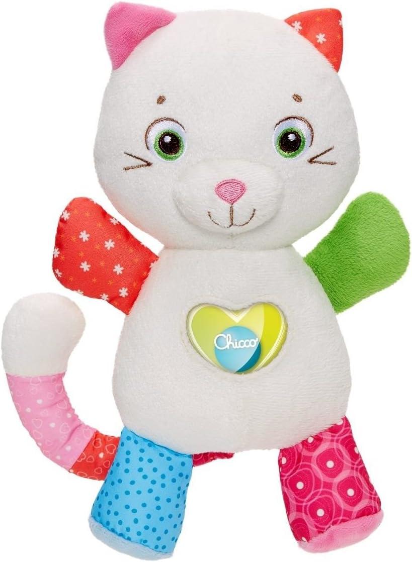 Chicco Greta la Marioneta - Suave y tierno peluche de gatito con sonajero en el corazón