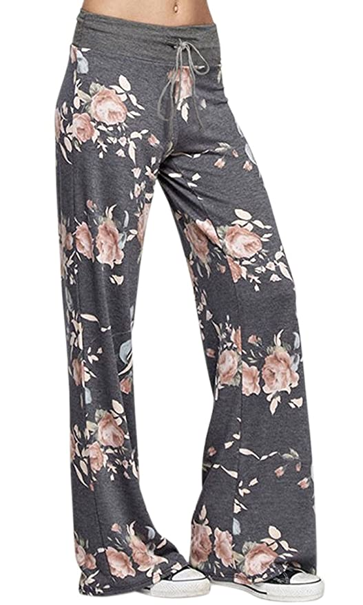 AMiERY Women's Comfy Drawstring Wide Leg Floral Lounge Pajamas Palazzo Pants for Women (Tag M (US 6), Dark Grey)