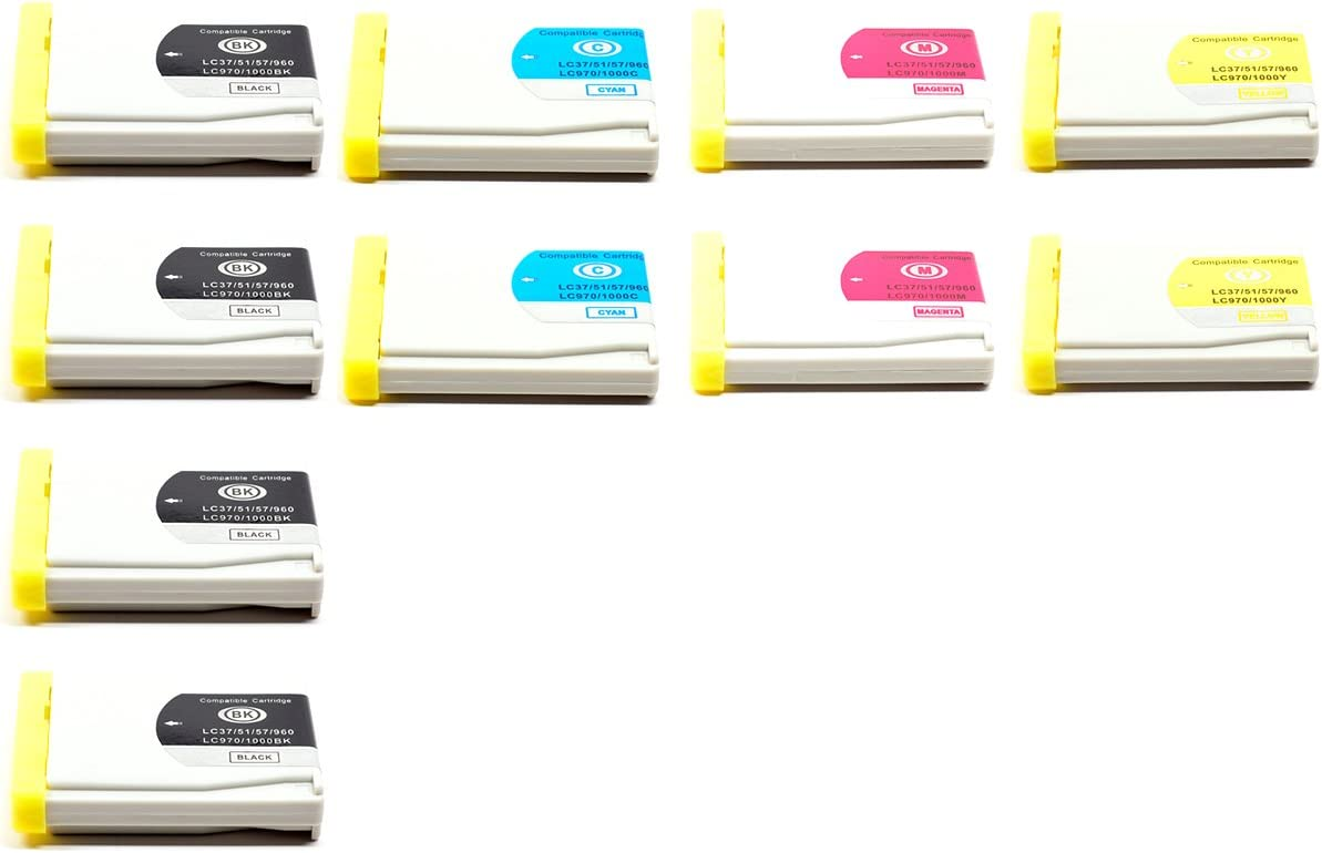 MFC-3360C Ink Cartridges 10-pack LC51 LC-51 MFC-665CW MFC-5460CN MFC-440CN compatible with Brother compatible with Brother MFC240C DCP130C MFC-5860CN 4B,2C,2M,2Y