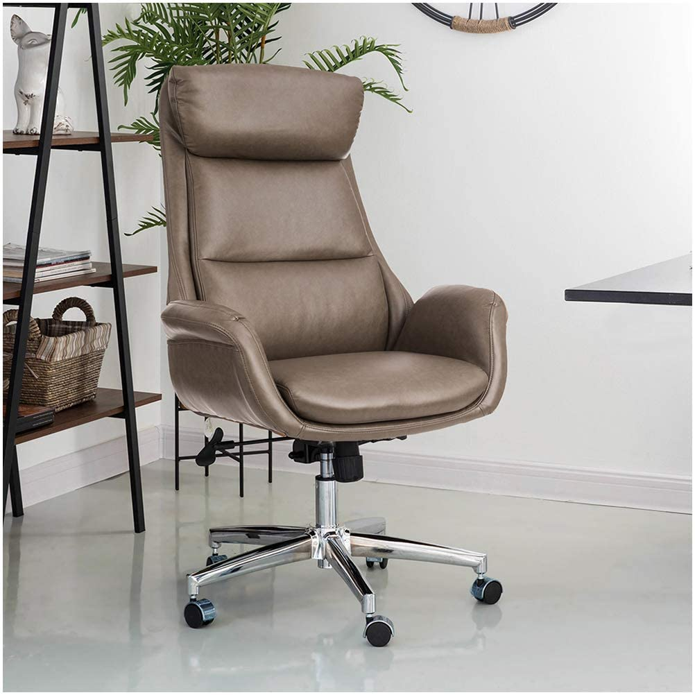 Glitzhome Mid-Century Modern Leatherette Adjustable Swivel High Back Office Chair Brownish Grey