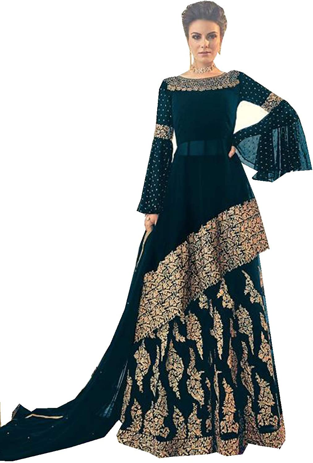 Amazon Com Indian Pakistani Sharara Plazzo Style Salwar Party Wear Suit For Women Violate 6005 Clothing