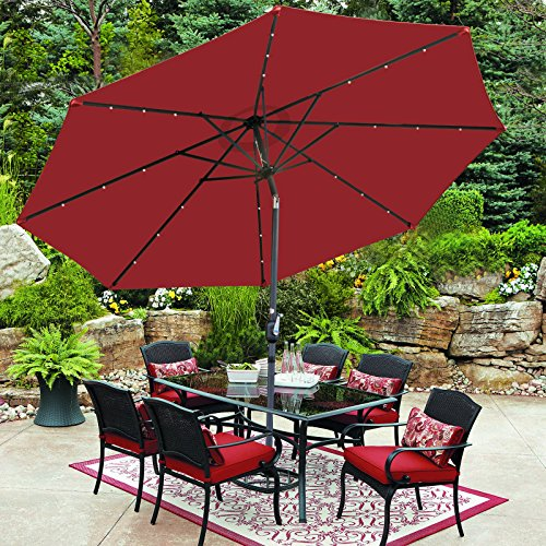 SUPER DEAL 10 ft Patio Umbrella LED Solar Power, with Tilt Adjustment and Crank Lift System, Perfect for Patio, Garden, Backyard, Deck, Poolside, and more (Burgundy)