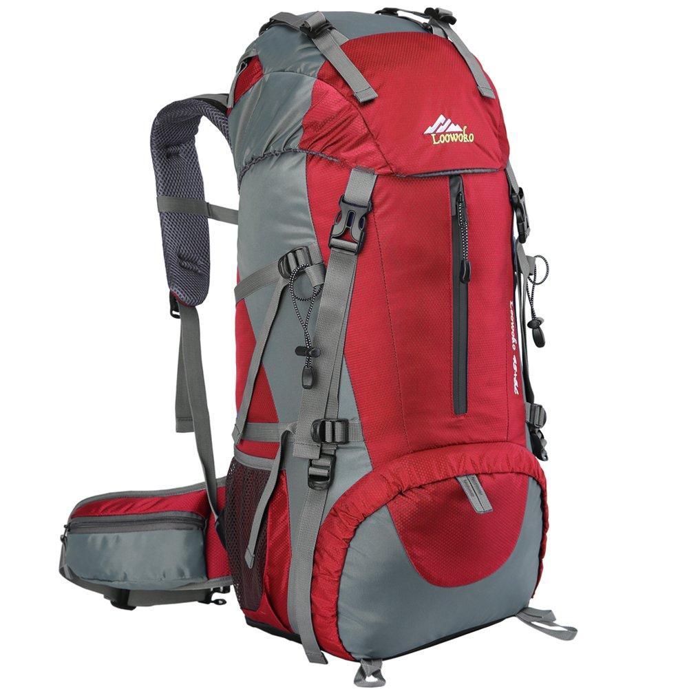 Loowoko 50L Imperméable Sac à Dos Grande Contenance Backpack Mountaineering Sac à Dos Travel Backpack avec Housse De Pluie Étanche pour Les Voyages en Plein air Escalade Camping LoowokoDirect 50L-Orange